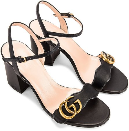 Leather Mid Heel Sandals in Black   FWRD