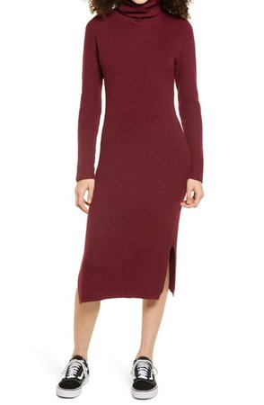 Lulus Sheerah Turtleneck Midi Sweater Dress | Nordstrom