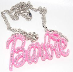 BARBIE PINK KISS BLING NECKLACE (With images) | Bling necklace, Barbie pink, Jewelry