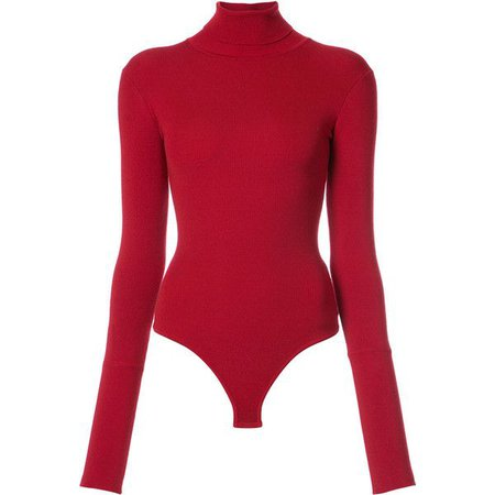 Long Sleeve Red Turtleneck Leotard
