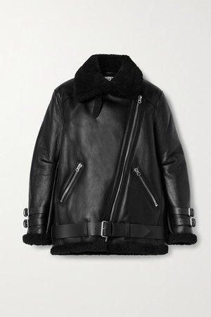 Leather-trimmed Shearling Jacket - Black