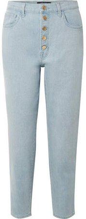 Heather Cropped High-rise Straight-leg Jeans - Light denim