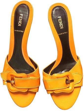 Orange Patent leather Sandals