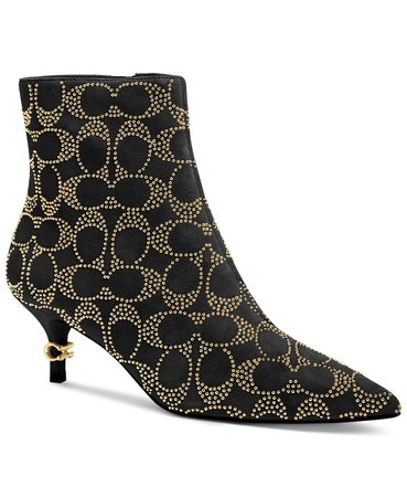 COACH Women's Jewel Kitten-Heel Logo-Studded Booties & Reviews - Boots - Shoes - Macy's black