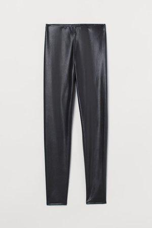Imitation leather leggings - Black - Ladies | H&M