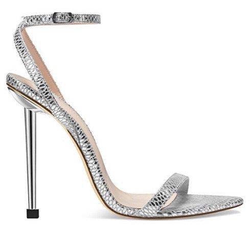 Silver Snakeskin Heeled Sandals