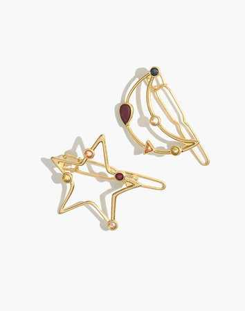 Two-Pack Finespun Moon and Star Hair Clips gold