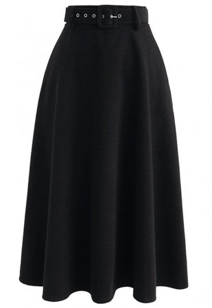 Your Elegant Choice A-Line Cotton-Blend Skirt in Black - Skirt - BOTTOMS - Retro, Indie and Unique Fashion