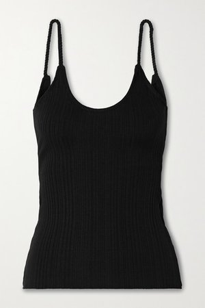 Wave Ribbed-knit Tank - Black