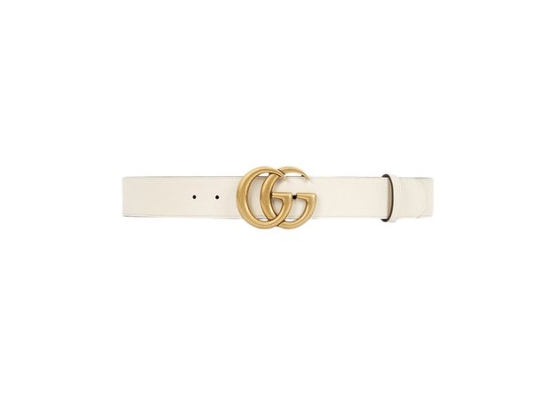 Gucci Double G Gold Buckle Leather Belt 1.5 Width White