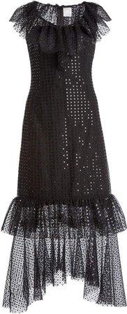 Huishan Zhang Aerin Ruffled Sequin-Embellished Tulle Midi Dress