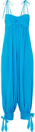 Three Graces London - Reed Tie-embellished Washed-silk Jumpsuit - Bright blue