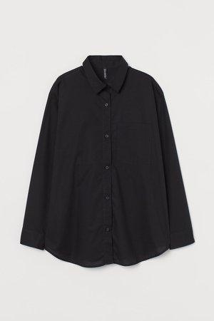 Oversized Cotton Shirt - Black