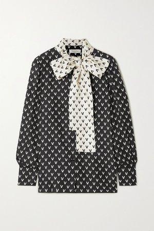 Black Pussy-bow printed silk-satin blouse | Valentino | NET-A-PORTER