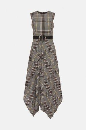 Tailored Check Midi Dress | Karen Millen