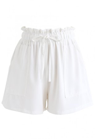 PaperBag-Waist Pockets Shorts in White - Pants - BOTTOMS - Retro, Indie and Unique Fashion
