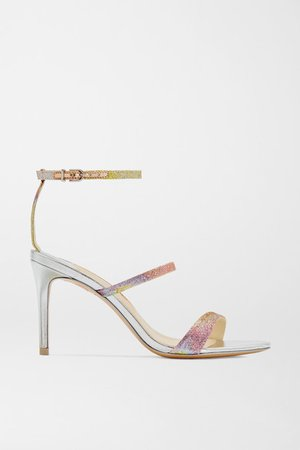 Rosalind Glittered Mirrored-leather Sandals - Silver