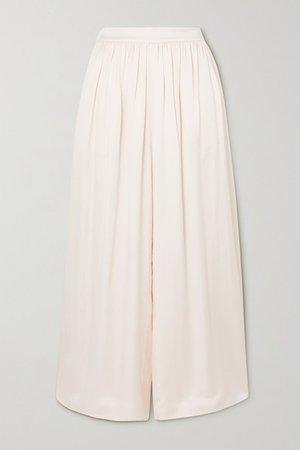 Nola Washed-silk Wide-leg Pants - Cream