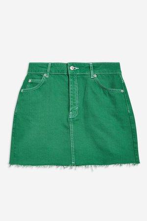 Green Denim Skirt | Topshop