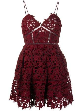 Shop red Self-Portrait lace appliqué mini dress with Express Delivery - Farfetch