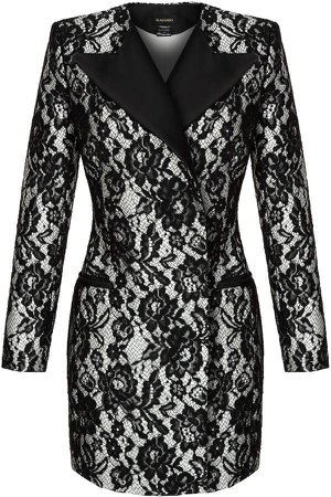 Rasario Satin-Trimmed Lace Mini Blazer Dress