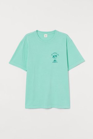 T-shirt with Printed Design - Mint green/palm trees - Men | H&M US