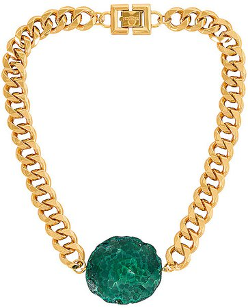 GOLDMINE Chunky Green Agate Necklace