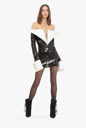 Short Black And White Sequin Embroidered Dress for Women - Balmain.com