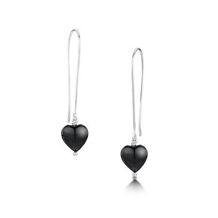 Black Onyx Heart Earrings | Becky Rowe Jewellery, Handmade in Guernsey