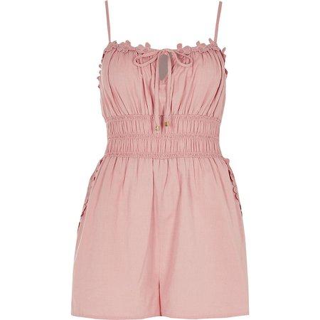 Pink shirred waist beach playsuit | River Island