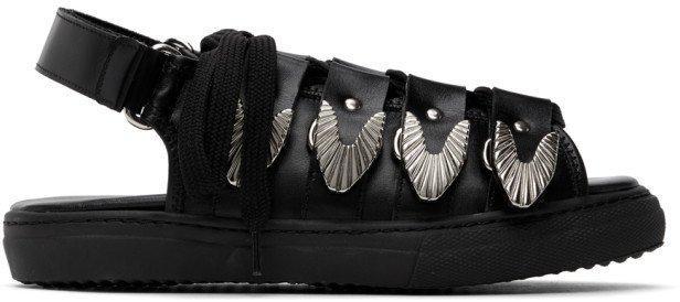 Black Leather Hardware Sandals