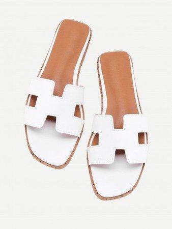 White PU H Cut out Design Flat Sliders Sandal Beach Slippers