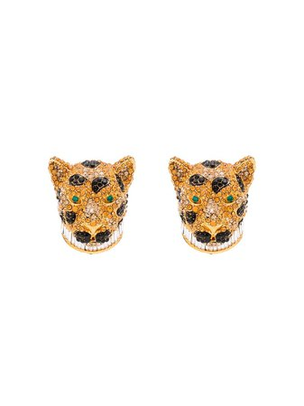 Dolce & Gabbana Encrusted Leopard Earrings - Farfetch