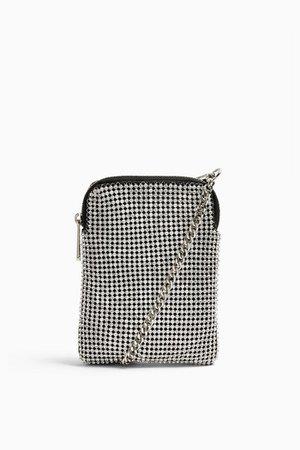 FIFI Silver Diamante Pouch Bag | Topshop