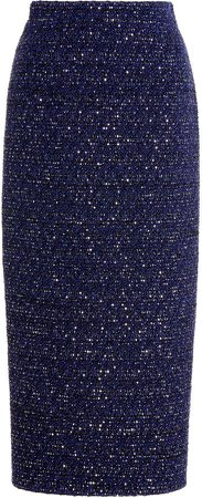 Alessandra Rich Sequin Tweed Midi Skirt