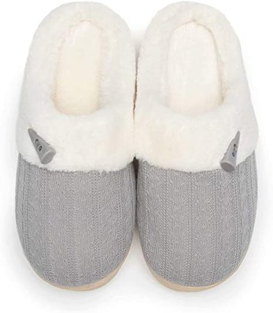 Amazon.com | NineCiFun Women's Slip on Fuzzy Slippers Memory Foam House Slippers Outdoor Indoor Warm Plush Bedroom Shoes Scuff with Fur Lining Size 7-8 Light Grey | Slippers