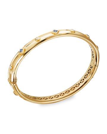 David Yurman Modern Renaissance 18k Diamond & Blue Sapphire Bracelet, Size S | Neiman Marcus