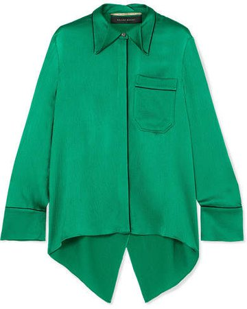 Algar Open-back Hammered-silk Blouse - Emerald