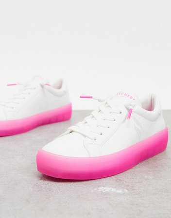 Skechers lace up sneakers in white with pink sole | ASOS