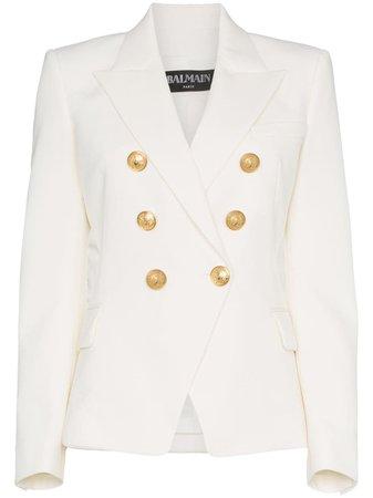 Balmain White Double Breasted Blazer Ss20   Farfetch.com