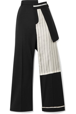 Monse | Satin-trimmed wool-blend twill straight-leg pants | NET-A-PORTER.COM