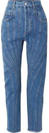 Frayed Paneled High-rise Straight-leg Jeans - Blue