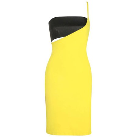 VERSUS GIANNI VERSACE c.1990 Yellow Black One Shoulder Dress Leather Bandeau Set For Sale at 1stdibs