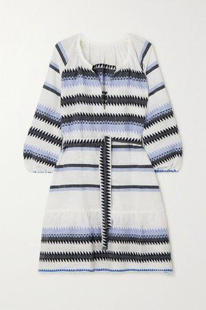 Blue Aster belted striped cotton-jacquard mini dress | LemLem | NET-A-PORTER