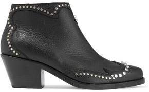 New Solstice Studded Pebbled-leather Ankle Boots