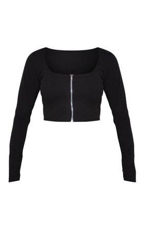 Black Crepe Zip Front Crop Top | Tops | PrettyLittleThing