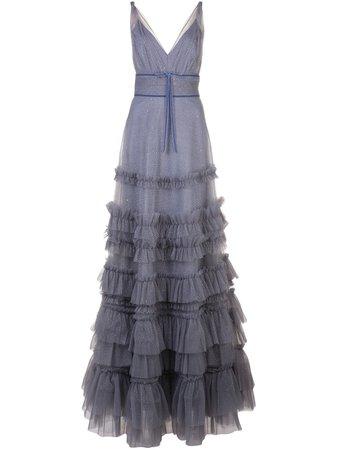 Marchesa Notte, Ruffled Glitter-Embellished Gown Dress