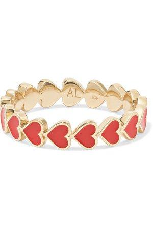 Alison Lou | Heart Stack 14-karat gold and enamel ring | NET-A-PORTER.COM