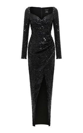 Draped Sequined Maxi Dress By Rasario | Moda Operandi