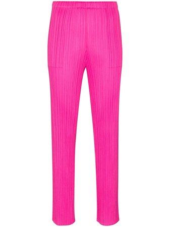 Pleats Please Issey Miyake pleated straight-leg trousers - FARFETCH